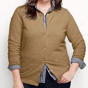 Lands End Supima Ottoman Cardigan Sweater Vicuna